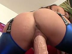 TaLia palmer sit her muff down onto giant bonking toy