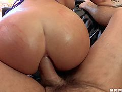 Melina Mason is a curvy brunette with huge tis and big fuckable ass. Big breasted brunette in barley there bikini top takes meaty cock in her mouth before ass drilling. She gets butt fucked on the couch in the middle of the room.