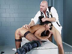 Officers Johnny Sins and Keiran Lee returned to the camera and found this shameless brunette whore Jessica Jaymes there waiting for their big cocks...