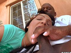 Sabrina Sweet is a hot blooded brunette who loves to play with massive black cock. She takes huge dick in her mouth then exposes her round bare ass. Black dude stretches her vagina with his magic tool.