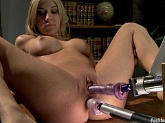 See how Amy Brooke gets her pussy and asshole penetrated simultaneously by machines in this video where the intricate devices make the blonde babe cum many times.