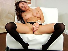 sensual beauty playing alone
