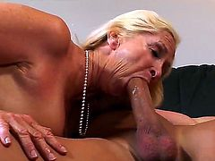 Yeah, just believe me that this hot blonde gilf Annabelle Brady knows whats what in caressing cocks! Now she is playing with big throbbing piece of meat so well!
