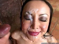 This cute Asian babe loves cock so much she takes it in all her god given holes until she finishes him off by taking his creamy jizz on her face.
