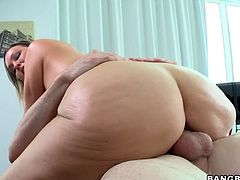 This super sexy and horny blond babe Abbey Brooks wanted to get her tight twat massaged and she damn gets it. But later on he massages her with his hard cock.