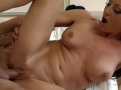 Buxom blonde cougar Sindy Lange fucking with her boyfriend Mr. Pete in the bedroom