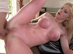 Pale long haired beautiful blonde cheating Natasha Brill with big fake gazongas and smoking hot body gets her shaved muff drilled deep in hardcore actin with young fucker while her hubby is at work