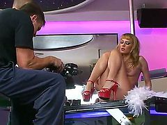 Exciting backstage video with super hot pole dancer Blue Angel in the striptease bar