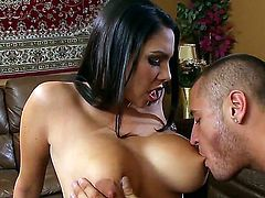 Danny Mountain came at the work in a bad mood. His super hot and horny secretary with big boobs and hot black hair Missy Martinez knows some secrets how to make him happy.