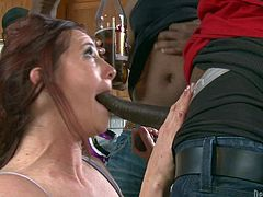 Mark Anthony and his black friends are all enjoying in getting serviced by a hot pale redhead like Cici Rhodes in their kitchen and they get their dicks sucked pretty good