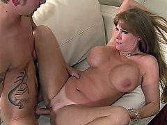Mature stepmom and young boy
