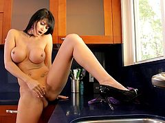 This amazing Belgian mommy is knows her ways in the kitchen. Damn she's insanely hot and has a fit and healthy body that demands our complete attention. just look at her, tall, brunette and with big round boobs she blows our minds away as she takes off her clothes and panties. Want to see some more from this beauty?