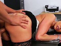 Professor Kendra Lust is a very cute and horny chick with big boobs and unforgettable sucking techniques. She makes her student blowjob and then gives her shaved pussy for a hot sex