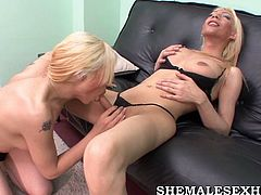 Two shemale blondes go wild in All Porn Sites Pass sex tube video. They fondle each other and send cocks deep in their insatiable mouth holes.