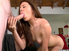 Pretty brown-haired girl Lo Milano gives a terrific blowjob to her man. Then she takes his dick in her cunt and they bang in cowgirl and other positions.