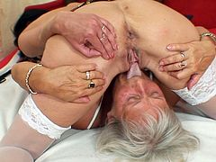 She is whorish granny with voracious cunt. She pokes her twat with dildo while the other ash blonde granny fingers herself. Later they please one another in a 69 position.