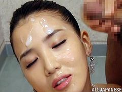 This desirable and smoking hot Japanese babe was fingering herself, while he was jerking off in front of her face. At then end he gives her a facial.