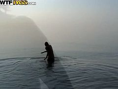 This kinky bitch loves nudists beach so she could sunbath naked. She jumps in the lake having much fun with her friend. Overall these crew is having a good time. Join them on a private party/