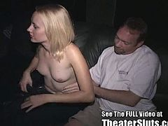 Filhty blonde gets super kinky in a porn theater for the first time. Watch as she gets naked gives head and ends up with her face drenched with jizz!
