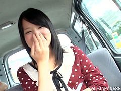 Adorable Japanese bitch Mikako Abe is having fun with some guy in a car. She lets him play with her vag and then takes an ardent ride on his dick.