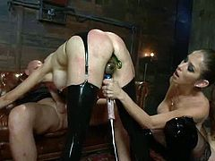 Two horny girls toy their asses using dildos and a strap on. Later on they get their asses dripped apart by Mark Davis.