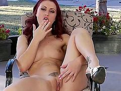 Gorgeous and charming slut Karlie Montana showing off her cute red stripe masturbating her wet and horny pussy with her fingers and using some toys to add more pleasure and satisfaction.