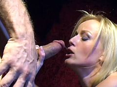 In this retro video Czech beauty Sharon Wild licks Joel Lawrence's nipples and she gets her nipples licked, too. She goes to work sucking his cock nice and wet. With his jeans around his ankles she sucks him off until he blows sticky jizz inside her sweet mouth.