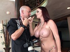 Redhead babe Sophie Dee is getting dick in her mouth