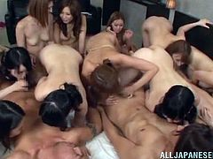 These guys are luckiest men in the world. Six amazing Japanese chicks give them a blowjob and then these guys fuck girls in their pussies.