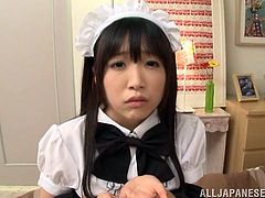 Ugly Japanese maid is playing dirty games with some guy indoors. She lets him touch her snatch and then drives him crazy with a hot blowjob.