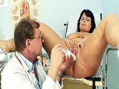 Mature Daniela has her nice chest checked by gyno doctor