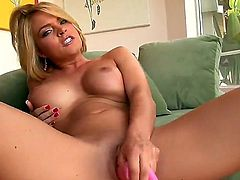Busty Krissy Lynn always wants to be satisfied, so this time she is masturbating on camera using a big sex toy. Moreover, she is rubbing boobies for double pleasure. Thats really awesome