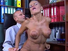 Hot mature secretary seduces her younger chief and has bumped onto A desk