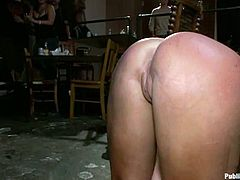 Kinky brunette bitch undresses and lies down on a pool table. She gets fucked hard in different positions.