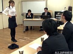 Amazing Japanese office girl strips her clothes off after giving a presentation. Later on she sucks dicks and gets fucked hard.