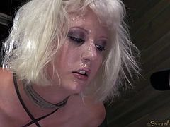 Cherry Torn gets her pussy torn up. Her master locks her in the dungeon like a dirty sex slave and comes down to have his way with her. She's tied up good so she can't go anywhere. He pounds her hard from behind with her head between her legs. She screams, but it's no use. She is his to fuck.