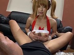 Horny Japanese babe is dressed like a filthy maid and her tits look so good without any bra. He fucks her and she enjoys her time.