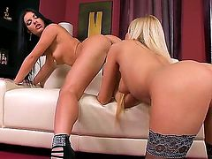 Dont stop yourself from fooling around with Donna Bell and Honey Demon. Blonde and brunette glamour girls are licking pussies of each other and rubbing them by fingers.