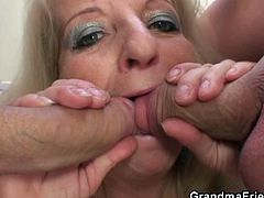 Watch a horny blonde mature sucking and riding two young stud's cocks after getting drunk.