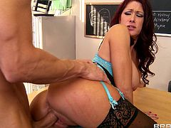 Redhead and stunning brunette milf in black stockings is having deep fuck indoors