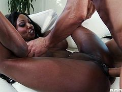 Ebony cock sucker Diamond Jackson is having real hardcore fuck in the room