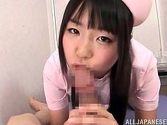 This kinky and horny Japanese babe knows nothing but a will to suck and ride a huge cock. So babe gets in the POV and you'd better start imagining what it is to fuck her.