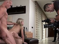 This hungry for cock slut Sasha Rose is simply not satisfied in having only one cock, she prefers to be sucking two at the same time and having a good double penetration from three guys.