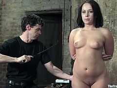 Insatiable brunette milf Alexa Von Tess gets tied up and punished by some people. They attach clothes pegs to Alexa's pussy and tits and enjoy the way she moans.