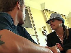 Chris Johnson and Amanda Blow are sitting near each other on one sofa and talking dirty. Dude tries to seduce this gorgeous milf to have unforgettable pounding with him.