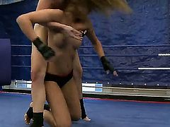 Watch these cool divas Cindy Hope and Sophie Moone wrestling and you would become aroused. Both blondes are so exciting and you shouldnt be against of watching them wrestling.