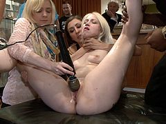 Naughty blonde chick agrees to do some crazy things. She gets tied up and then fucked rough while other people are watching at her.