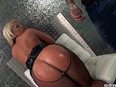Big ass milf Alura lures men with her oiled butt and here she got one eager to fuck her from behind. The bitch bent over and offered Keiran full access to her booty, waiting for him to drill her hard. Soon Alura got what she wanted and Keiran's dick went deep in her. Does her ass deserves to get cum filled?