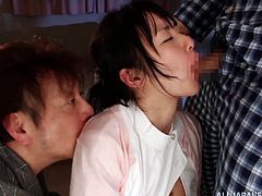Hot Japanese teen girl gives a blowjob and gets her pussy licked through her panties. After that she gets her mouth filled with thick cum.