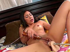 No one fucks better than a sex machine and Nicole Ferrera knows that. She is spreading her legs to take that long dildo deep inside of her slippery meat hole!